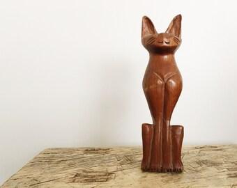 Hand Carved Wood Cat Sculpture // Mid Century Modern Teak Wooden Cat // Cat Lover Gift