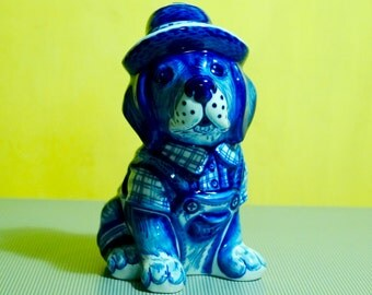 Gzhel porcelain Figurine dog in a hat