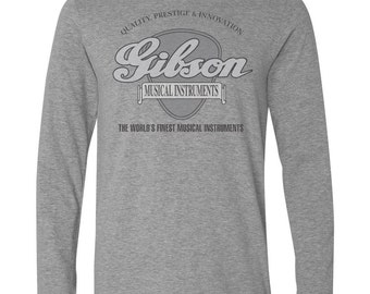 Long Sleeve Grey T-Shirt with GIBSON GUITAR Big Pick Design-Les Paul Sg 335 USA gray