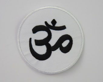 Black Om on White Background Iron On/ Sew On Embroidered Cloth Patch Badge Appliqué aum ohm UK seller Size: 7.6cm