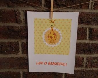 Life is beautiful!  Printable art, affiche imprimable, citation inspirante, décoration chambre bébé, jaune