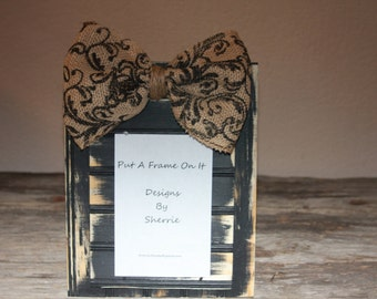 Black Rustic Frame with Patterned Burlap Ribbon