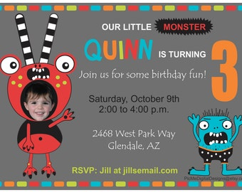 Custom Photo Monster Birthday Invitation, Custom Monster Invitation, Photo Invitation, Custom Birthday Invitations, Custom Photo Invitation
