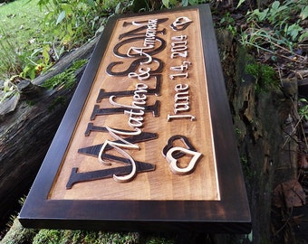 Wood marriage sign with established date.  Last name wall decor and 5th anniversary sign by LittleRiverWoodcraft.