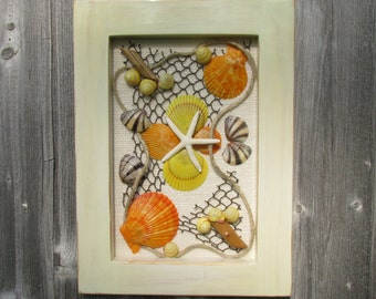 Seashell And Starfish Wall Hanging With Whitewash Frame.