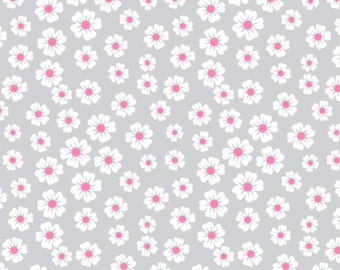 "24"" REMNANT - Little Daisy by Patty Young Cotton Fabric Modkid Studio, Little White Daisies with Pink Centers on Gray, Premium 100% Cotton"