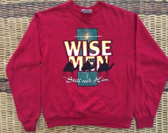 Vintage 90's Lee Wise Men Red Sport Classic Design Skate Sweat Shirt Sweater Varsity Jacket Size S #A443