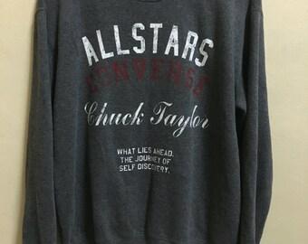 Vintage 90's Converse All Star Chuck Taylor 1908 Dark Grey Sport Classic Design Skate Sweat Shirt Sweater Varsity Jacket Size LL #A179