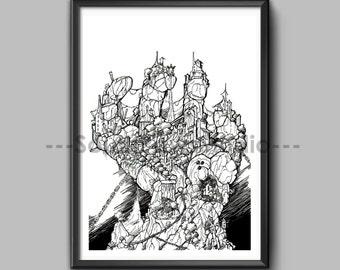 Instant Downloadable Fantasy Ancient Architecture Illustration A5 Print