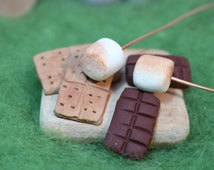 Miniature S'mores Kit, Miniature Roasting Marshmallows, Fairy Gardens, Miniature Gardens, Miniature Food, Wedding Cake Toppers,  Dollhouse