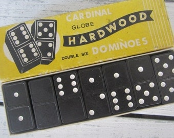Vintage Cardinal Globe Hardwood Double Six Dominos Full Box Wood Dominos