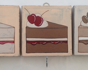 Set of 3 cake canvases with hooks