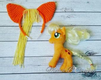 Crochet My Little Pony Headband Toddler/Childand Teen/Adult, My Little Pony Apple Jack Headband