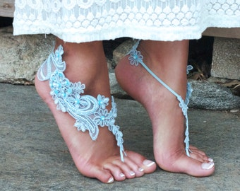Pale Blue Lace Barefoot Sandals LISA, Fantasy Beach Wedding, Earthing Summer Festival Accessories Romanic Fairy Lace, Baby Blue, Robins Egg
