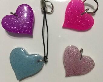 Glowing Glitter Heart Zipper Charm