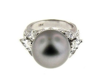 2.20 CT White Gold Black Soth Sea Pearl & Diamond Ring 18 Kt