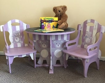 Kid's Teddy Bear Table with Chalkboard Top and Two Chairs