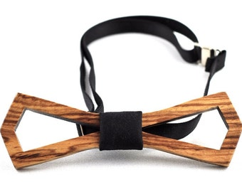 Zebrawood wooden bow tie (Hollow style)