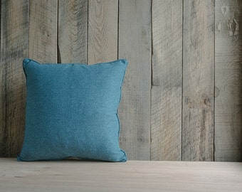 Teal Cashmere Throw Pillow with Self Welt