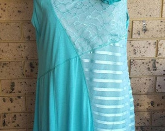 Turquoise sleeveless dress  lace dress embellished lace dress  size XL 14-16?
