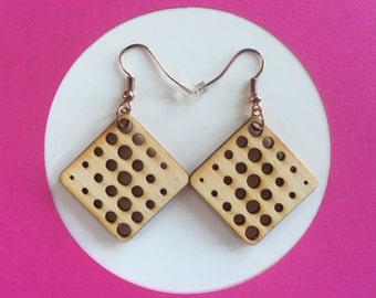 Wood Circular Grid Pattern Earrings