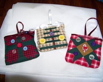 Set of 3 Fabric Christmas Ornaments #4