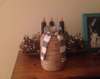 Wrapped Mason Jar with Blue plaid ribbon