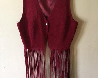Maroon/Burgundy Leather Fringe Vest