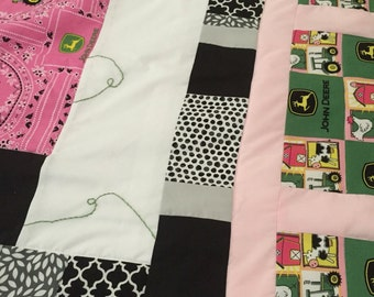 Lap quilt -Baby quilt, John Deere tractor, hand embroidered, homemade gift,