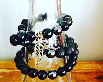 10mm Lava Bead Diffuser Wrap Bracelet Black Obsidian, Hematite, Lava