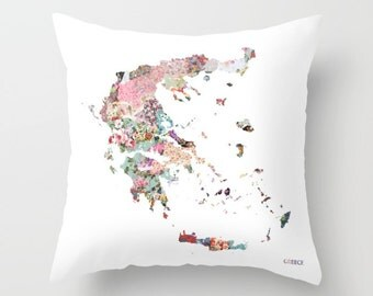 GREECE map pillow | Pillow Painting | Greece pillow | Painting of Greece | Pillow map | Throw Pillow | Flowers compositions