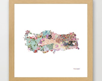 TURQUEY MAP, flowers composition, roses, Giclee Fine Art, Poster Print