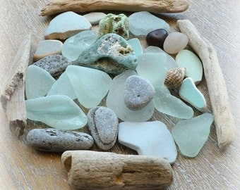 Sea Treasures Pack, Seafoam, Sea Glass, Sea Pottery, Beach Pebbles, Driftwood