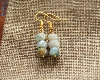 Blue & White Stone Earrings (gold)