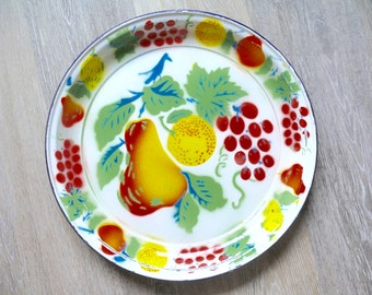 """Large Round Enamel Platter, Hand Painted Fruit, Rustic Brightly Colored Enamelware 14"""" Platter, Farmhouse Country Kitchen, Outdoor Dining"""