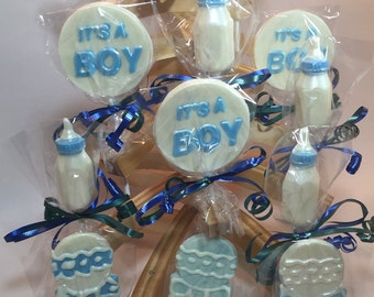 """12 Chocolate """"It's a Boy"""" Lollipops Baby Shower Favors Gender Reveal Party Favors Baby Boy Party"""