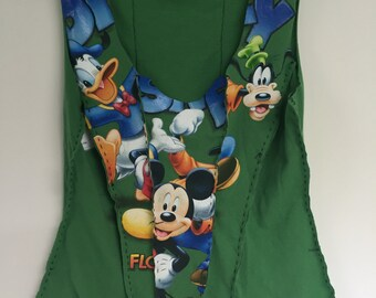 Donald, Mickey, and Goofy on a corset top, Upcycled from a tee shirt