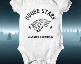 House Stark Winter is Coming Game of Thrones Baby Bodysuit | Baby Shower Gift | Cute Baby Clothes | Funny Baby Bodysuit | Newborn Baby