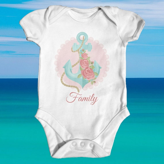 Nautical Anchor With Family baby bodysuit cute baby clothes