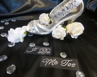 """Wedding Stickers: """"I DO"""" & """"ME TOO"""" Bridal/Groom Shoe and Acc. Jewel Stickers"""