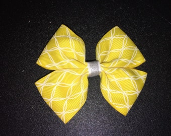 Yellow and White glitter center Hair Bow