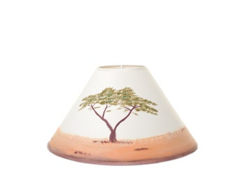 Handpainted Lampshade - Acacia Tree Design, Coolie, Landscape, Africa, home decor, lamp, lighting