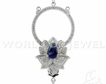 1 PCs 925 Silver Clasp with Rhinestone flower in 3 25x46mm-rhodium-plated and blue Wires-to create Necklaces Bracelets and accessories