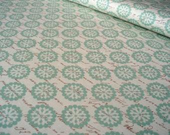 Cotton fabric Paris Blooms and Script Light Blue