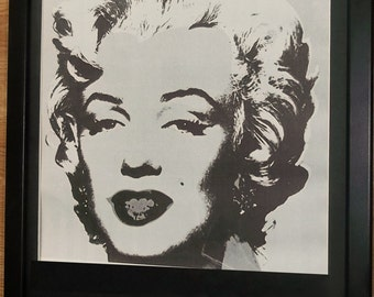 Mounted and framed pop art print, 12''x16'' framed, Marilyn Monroe by Andy Warhol