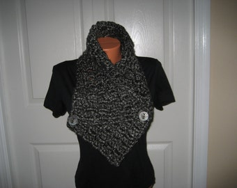 Crochet Cowl, Neck Warmer, Soft Chunky Gray And Black Yarn, Functional Buttons