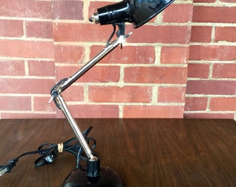 Vintage Enameled Black Desk Lamp