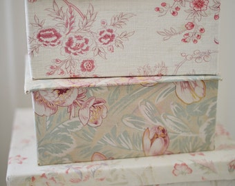 Vintage French fabric covered jewellery box