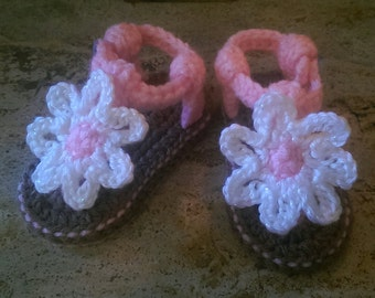 Baby White and Pink Crocheted Flower Sandal