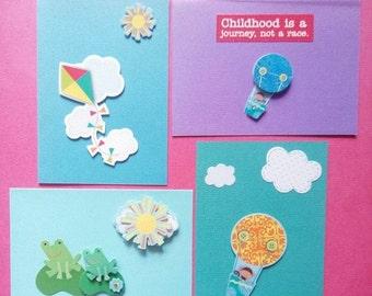 ON SALE Children's Blank Card & Envelope Set - 4 - Fun - Colourful - Raised - Standard Size